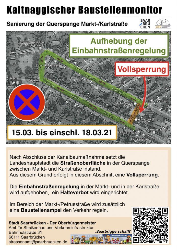Baustellenankündigung Querspange Markt-/Petrusstraße 15.-18-03.21
